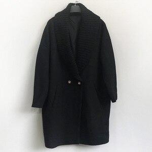 Image 3 - Abrigo largo de lana de invierno a la moda para mujer, abrigo de mezcla de lana con doble botonadura y chaqueta con cuello vuelto