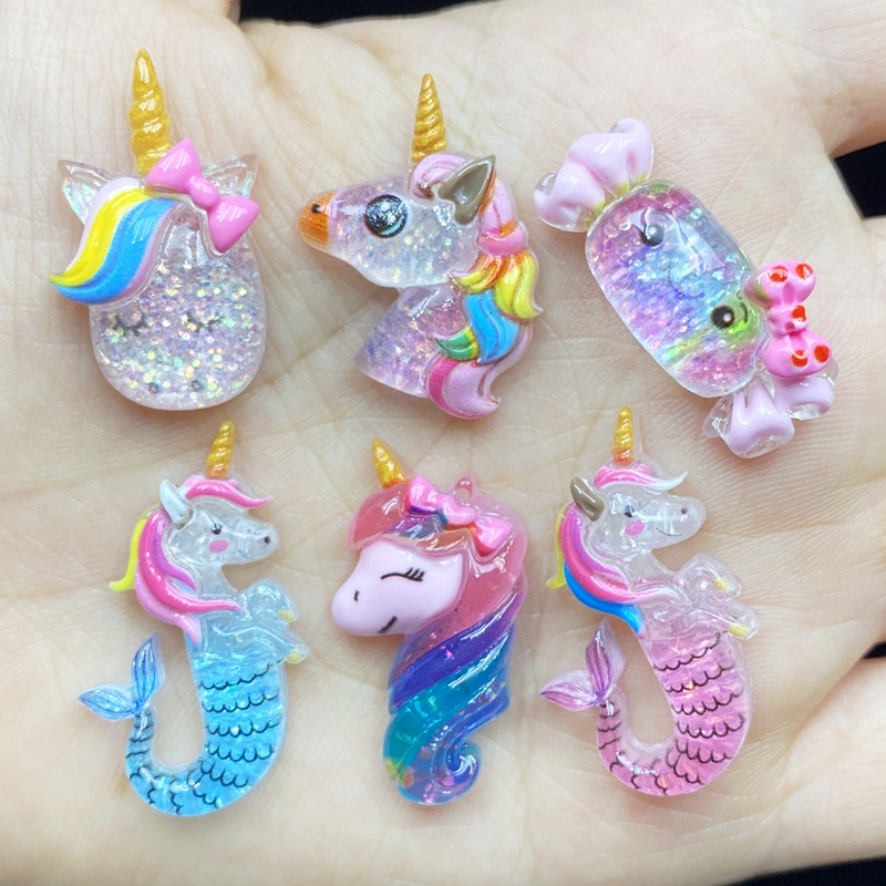 12pcs Unique Mixed Shiny Unicorn / Candy Flat Back Figurine DIY Wedding Scrapbook Decor Home Craft C01