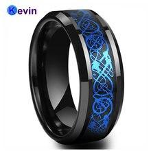 Мужское обручальное кольцо черное из карбида вольфрама с черным