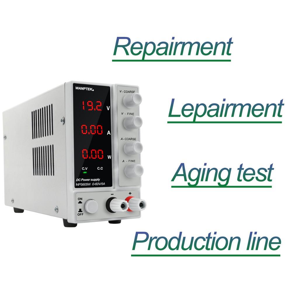 NPS605W commutation réglable DC alimentation de laboratoire 60V 5A Source de banc d'alimentation stabilisateur de tension de laboratoire numérique