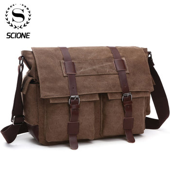 Scione Men Business Messenger Bags For Men Shoulder Bag Canvas Crossbody Pack Retro Casual Office Travel Bag one piece totoro bag men messenger bags canvas shoulder bag lovely cartoon anime neighbor crossbody school letter bag