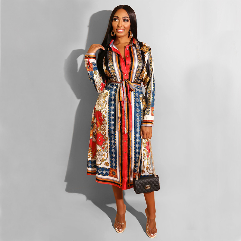 Vintage Belt African Dresses Blouse Women Long Sleeve Plus Size Shirt Sexy Night Party Midi Dress Vestidos Ladies Clothes