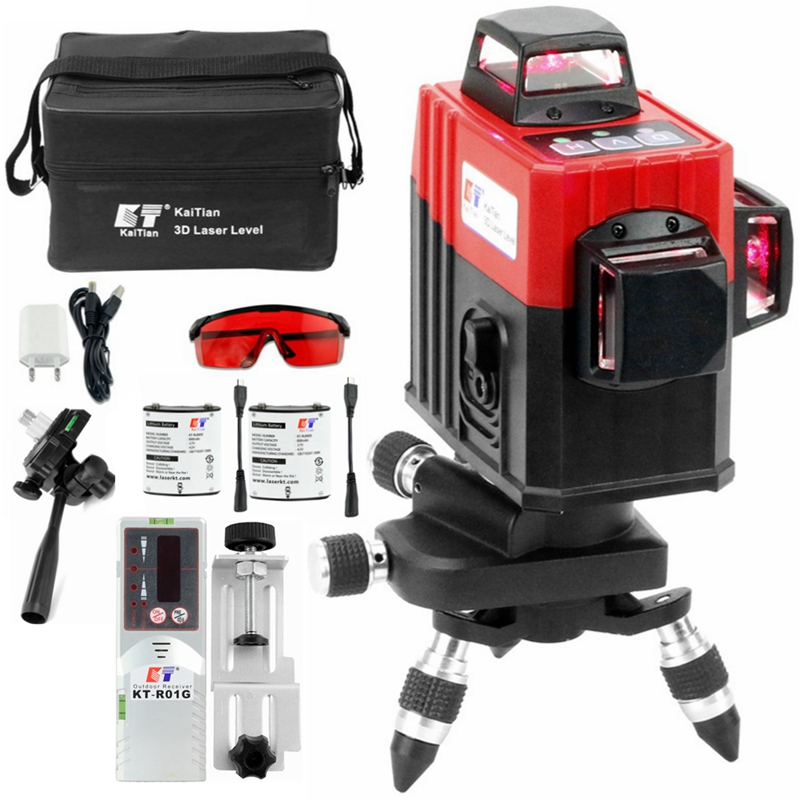 KaiTian 3D Laser Bracket Level 360 12 Lines Self Leveling Cross Vertical&Horizontal Laser 3D Line Lazer Level Construction Tools-in Laser Levels from Tools