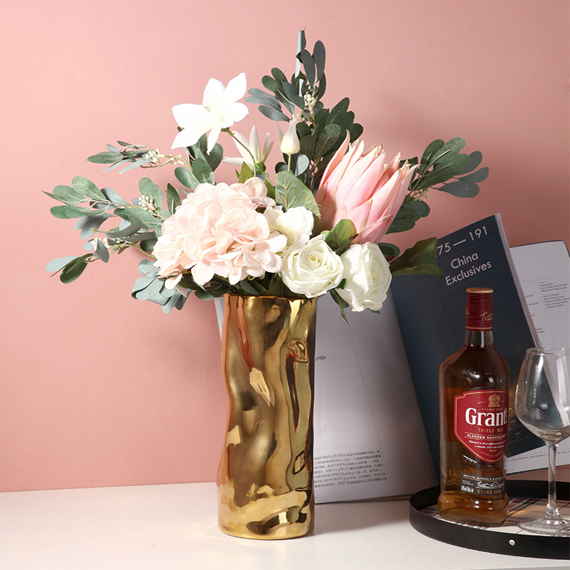 Lumière de luxe en céramique Vase décoration créative Simple crête conception salon fleur Arrangement TV armoire Table à manger