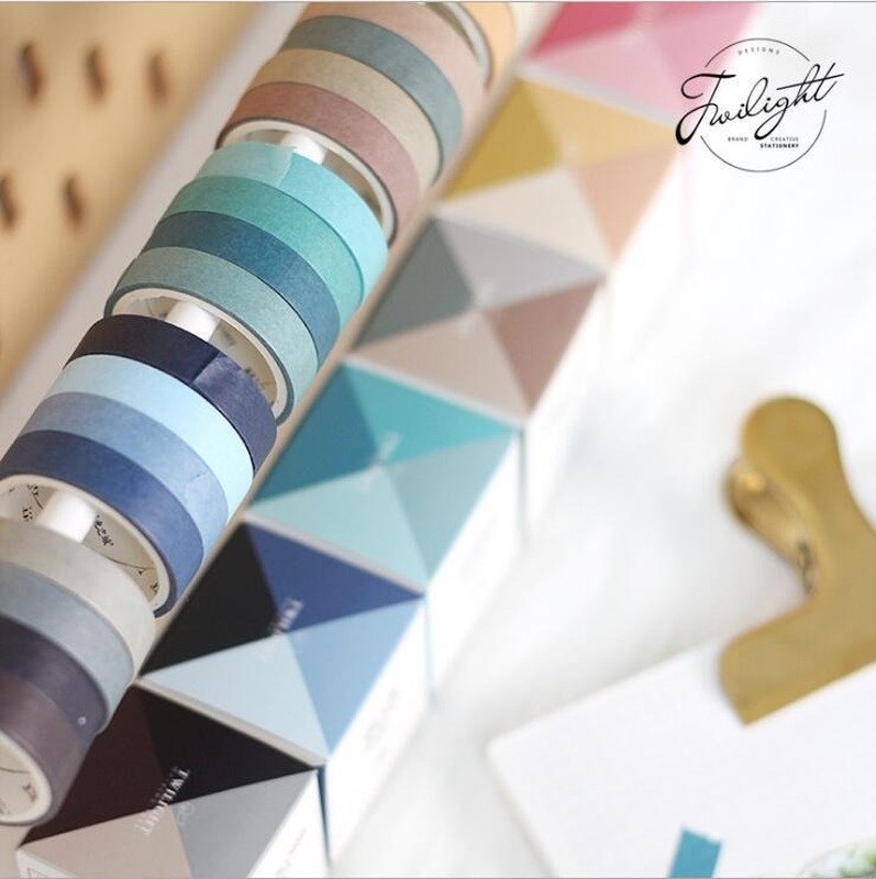 4 Pcs/lot Simple Washi Tape Set Masking Tape Solid Color Decorative Tape Scrapbooking Student Stationery Office School Supply