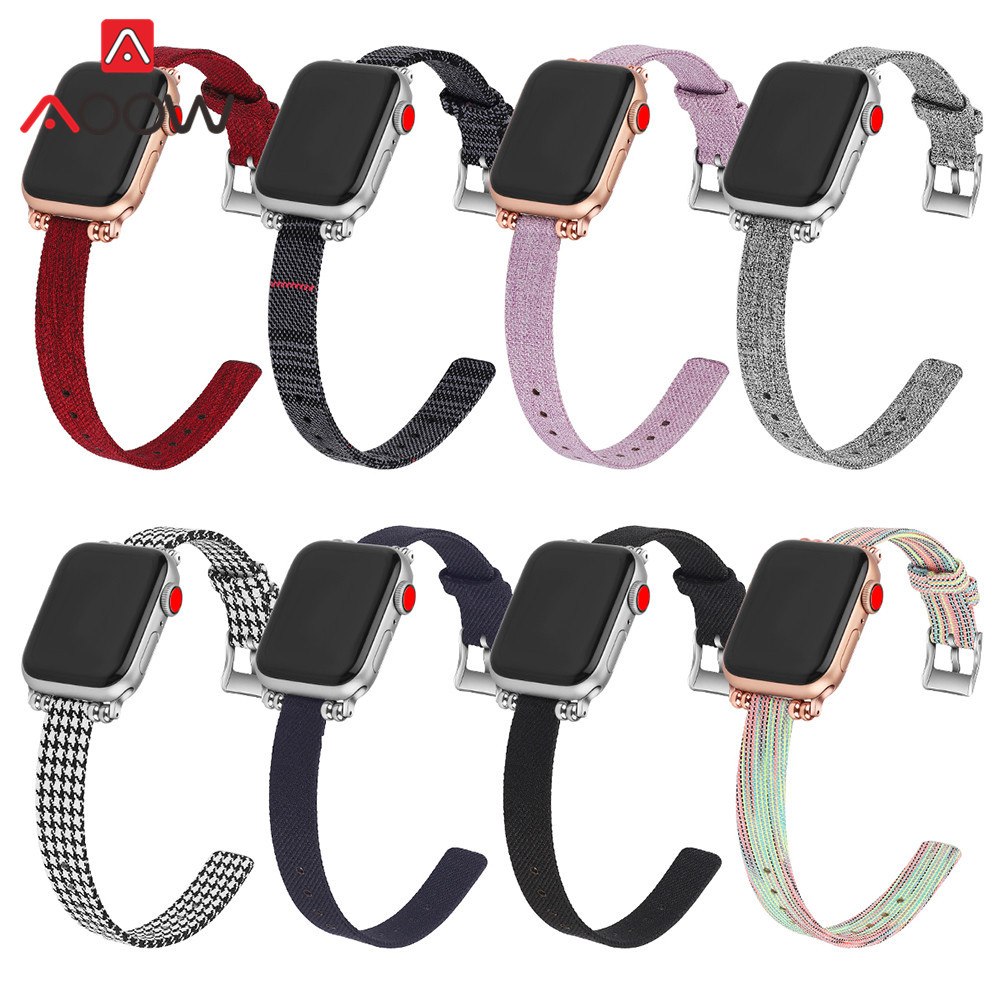 Woven Nylon Canvas Watchband For Apple Watch Series 3 2 1 38mm 42mm Women Jewelry Strap Bracelet Band For Iwatch 5 4 40mm 44mm