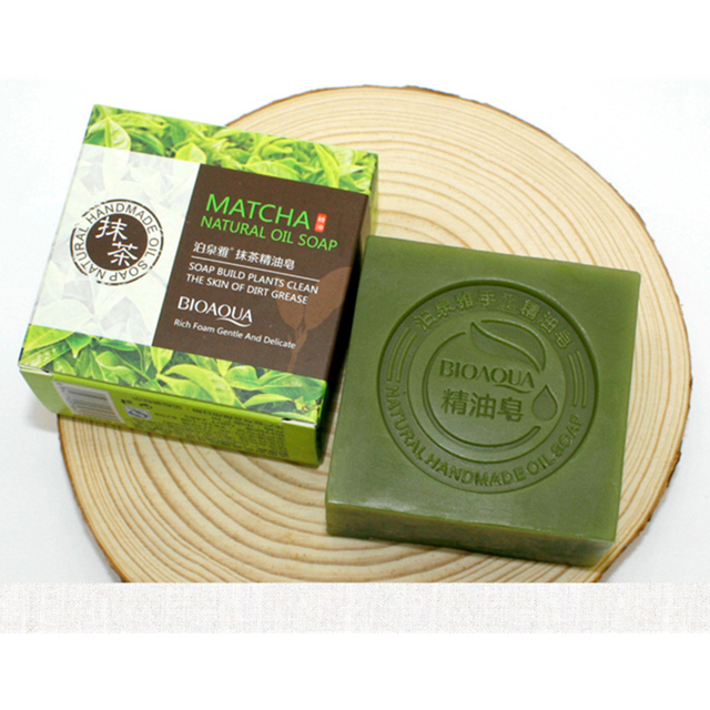 Organic Matcha Green Tea Handmade Soap Skin Whitening Moisturizing Face Cleansing Soap Remove Acne Cleansing Bath Bar Soap 100g 3