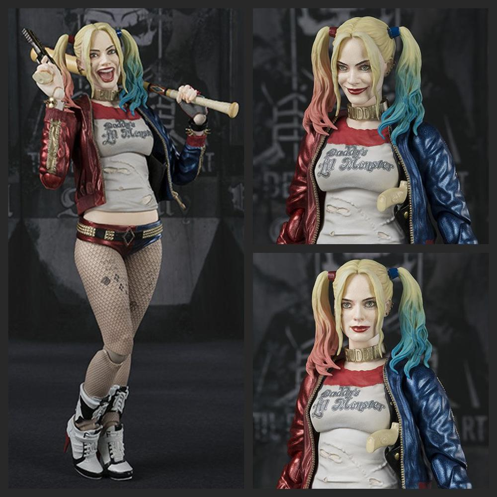 DC Movie Suicide Squad SHF 3 Face 3 Head Harley Quinn The Joker PVC Action Figure Toy Collection Doll Christmas Birthday Gift