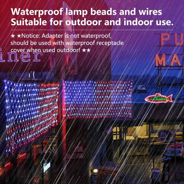 6.56 * 3.28FT réseau de LED lumière américaine USA drapeau LED chaîne lumière extérieure maison indépendance jour Festival décoration 31V D30