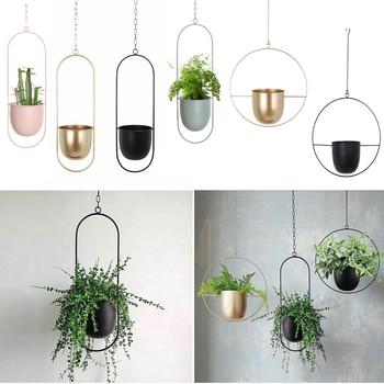 10 Type Metal Hanging Flower Pot Nordic Chain Hanging Planter Basket Flower Vase For Home Garden Balcony Decoration 2021 New 1