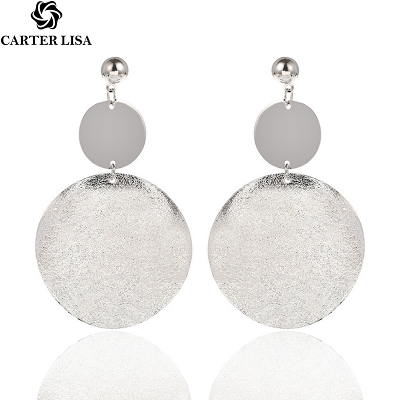 CARTER LISA Woman Fashion Jewelry Earrings Girl Trend Gold Big Frosted Exaggerated Round Earrings Pendant HLE0153000