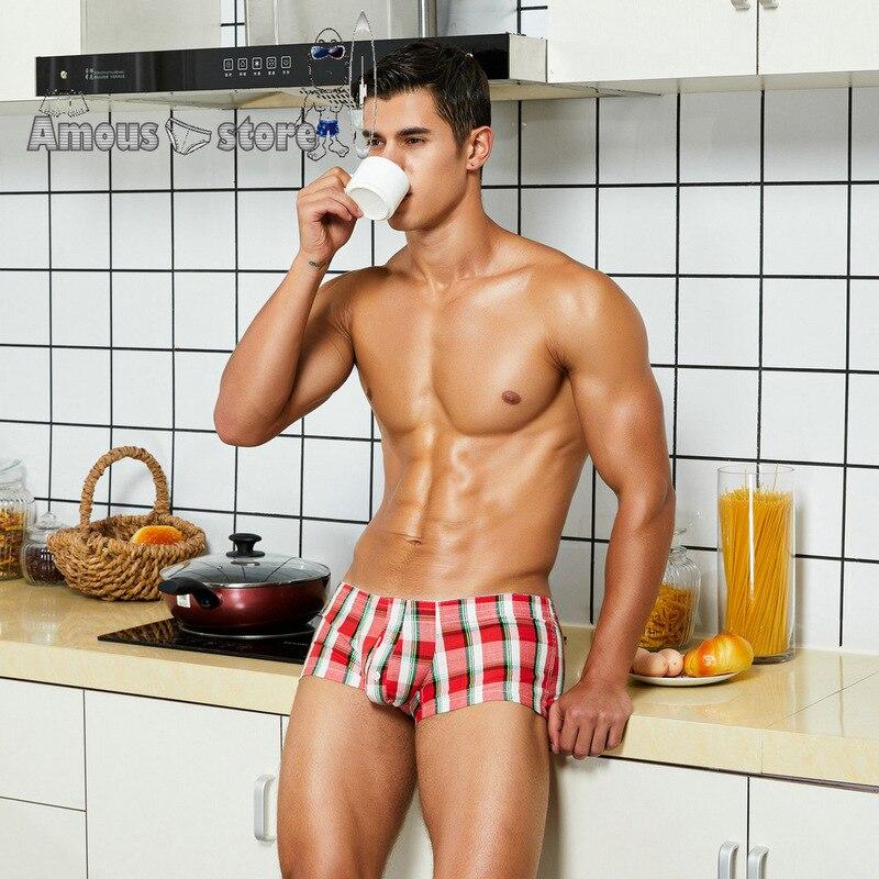 Cotton Short Cortos Hombres Mens Pyjama Shorts Tracksuit Plaid U Bag Casual Trunks Pajama Shorts Man Pajama Bottoms