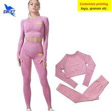 Anpassen LOGO 2 Pcs Nahtlose Yoga Set Frauen Trainingsanzug Anzug Langarm Fitness Gym Tank Top + Leggings Workout Laufen sportswear