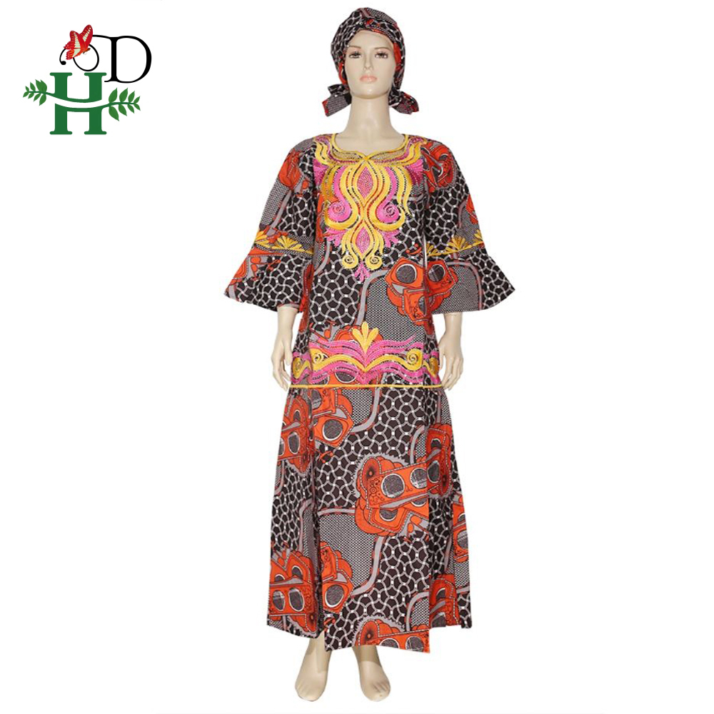 H&D African Dashiki Clothes For Women Plus Size Ankara Wax Dress Traditional Africa Print Embroidered Maxi Dress Gele Headtie