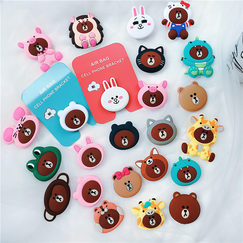 360 Rotatable Silicone font b Phone b font squishy Expanding Stand Grip Cute Cartoon Finger Ring