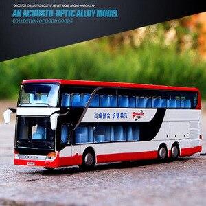 Image 3 - 1/32 合金ダイキャストダブルデッカーバス音と光バスモデル高シミュレーション金属高級バス車両のおもちゃ男の子