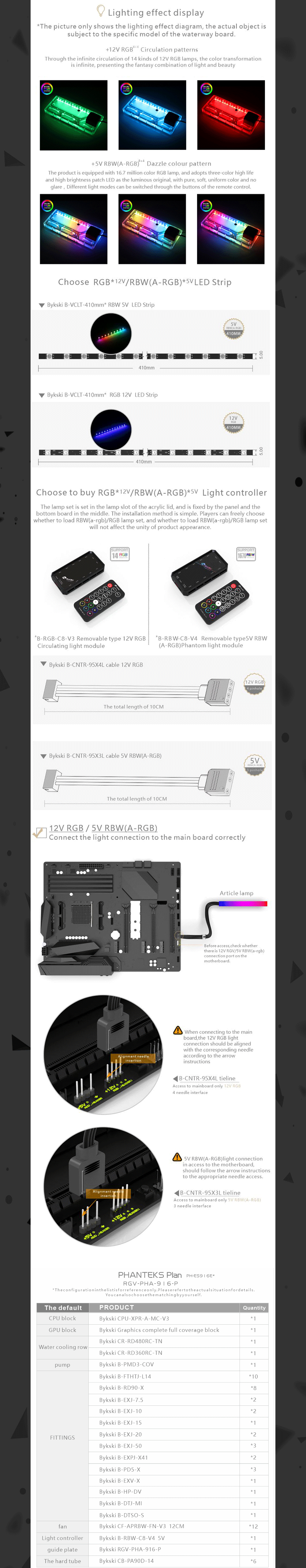 Bykski Waterway Cooling Kit For PHANTEKS PH-ES916E Case, 5V ARGB, For Single GPU Building, RGV-PHA-916-P