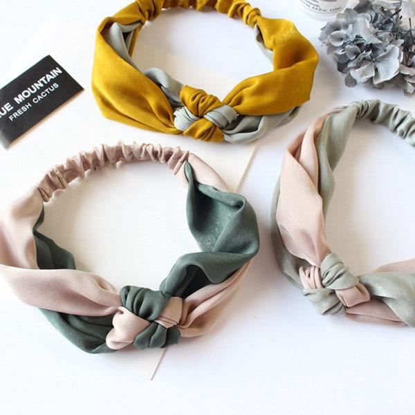 Fashion Women Girls Simple Cross Knot Bow Headband Elastic Hairband Vintage Ribbon Hair Band Ladies Headdress Hair Accessories