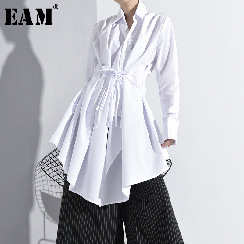 [EAM] Women White Bandage Asymmetrical Long Blouse New Lapel Long Sleeve Loose Fit Shirt Fashion Tide Spring Autumn 2020 A536