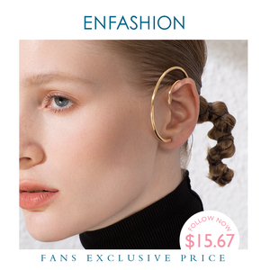 Image 1 - ENFASHION Vòng Tròn Lớn Đôi Khuyên Tai Vòng Cho Nữ Phụ Kiện Màu Vàng Tuyên Bố Bóng Đường Cong Treo Tường Earings Trang Sức Thời Trang E191122