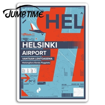 Jump Time HEL Helsinki Airport Vinyl Stickers Finland Fun Travel Sticker Waterproof Car Decal Window Bumper Auto Accessories image