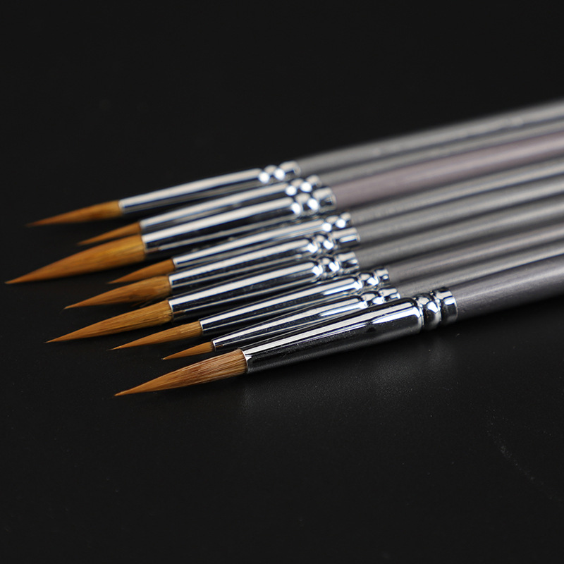 9 pcs weasel hair line book brush painting watercolor gouache oil painting hook line pen durable thin silver birch pen rod art