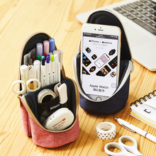 Pencil-Case Vertical Large-Capacity Office-Stationery Canvas Zipper Mobile-Phone-Bracket