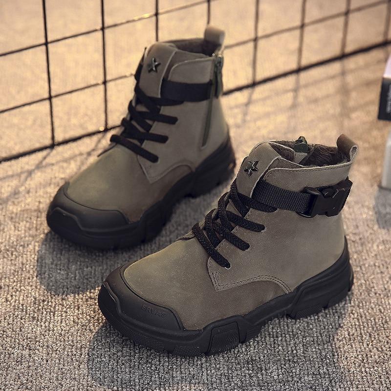 Зимние новые детские ботильоны; Модные Винтажные ботинки martin для мальчиков; Детские Водонепроницаемые ботинки; зимние кроссовки для девочек; уличная нескользящая обувь