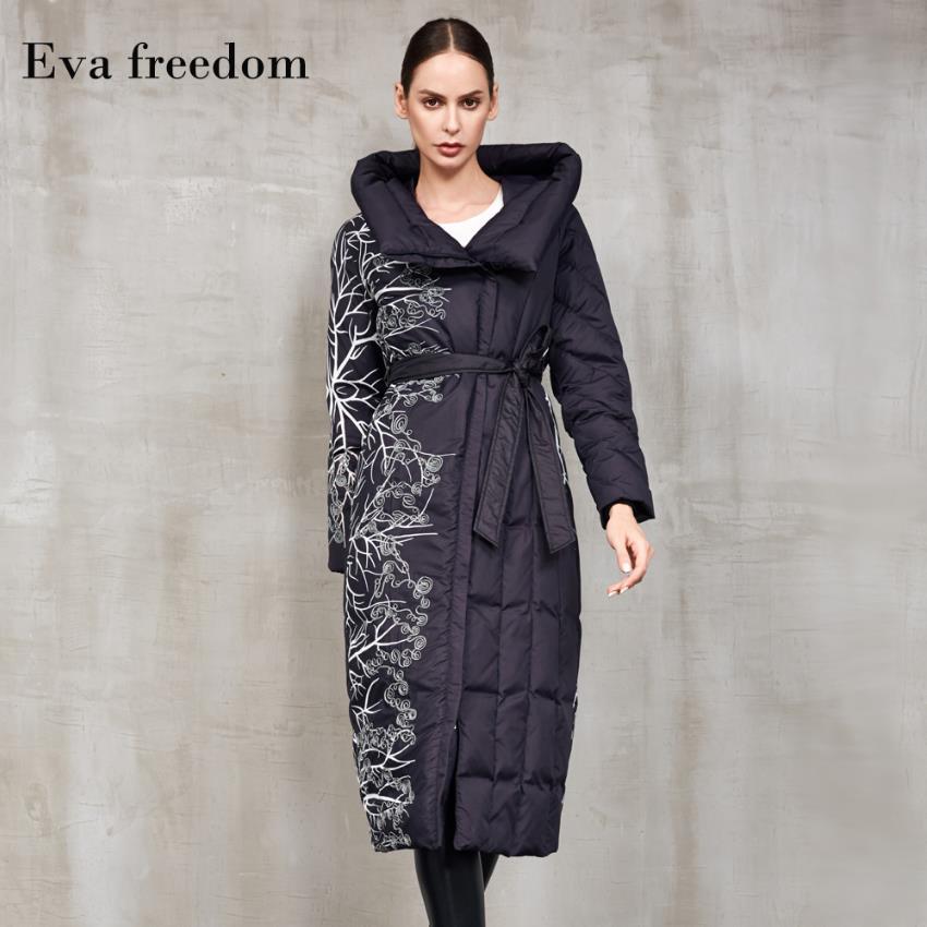 Invierno moda embriodery impreso más grueso plumón de pato mullido Abrigos Mujer sobredimensionado sobre la rodilla más largo abrigo de plumón de pato caliente F303