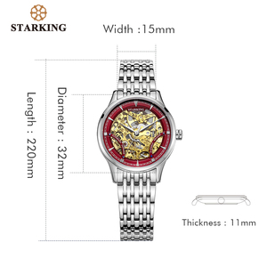 Image 5 - Reloj Mecánico STARKING, de lujo, de acero inoxidable, con esqueleto hueco, automático, para mujer, Hodinky Damske, 5atm, AL0185