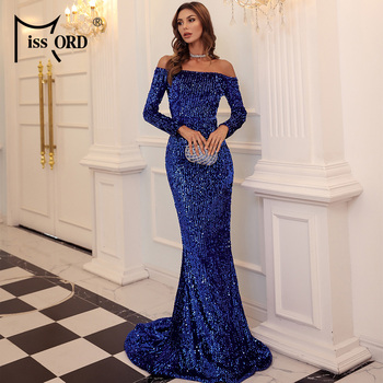 Missord 2020 Autumn Winter Sexy Off the Shoulder Long Sleeve Sequin Party Dress Evening Maxi Dress Women Bodycon Dress FT20245 missord 2020 women sexy deep v neck backless sequin dress women sleeveless maxi dress bodycon evening party dress vestido m0449