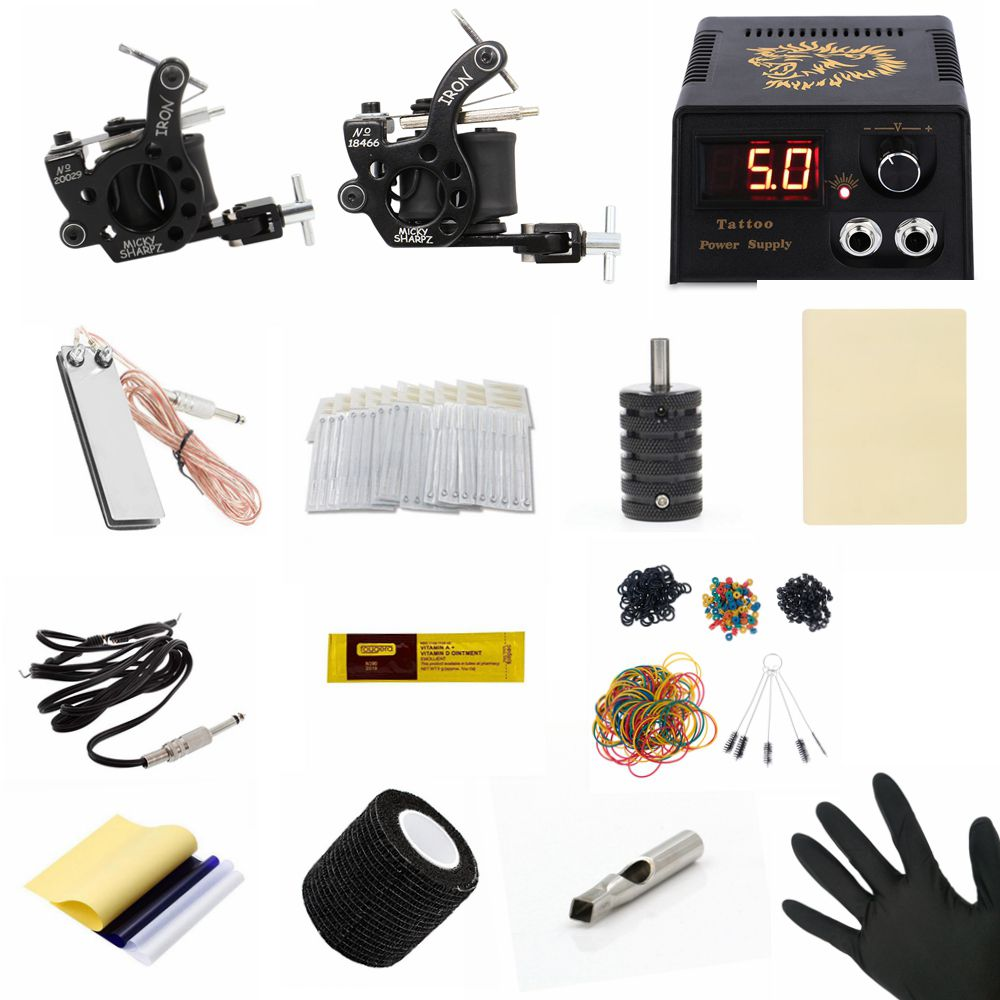 Tattoo Kit Rotary Tattoo Machine Set 10 Coils Wraps Machine LCD Power Supply Permanent Makeup Tattoo Practice Skin Grip Cover