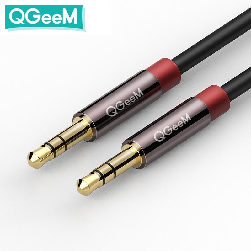 Кабель AUX QGEEM для автомобиля iPhone, стерео аудио кабель «штырь-штырь» с разъемом 3,5, Автомобильный Кабель AUX для наушников, динамиков