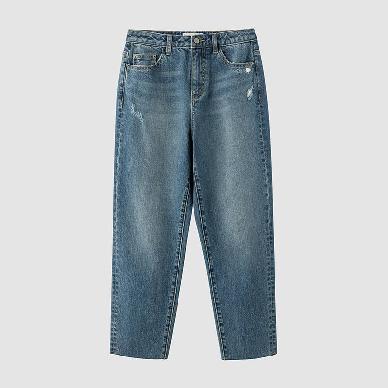 INMAN 2020 Spring New Arrival Plain Cotton Series Medium Waist Retro Slimmed  Jean Cropped Trousers