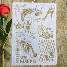 High heels Girl's shoes A4 29*21cm DIY Stencils Wall Painting Scrapbook Coloring Embossing Album Decorative Paper Card Template
