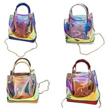 Beach Transparent Holographic Laser Handbag Jelly Chain Shoulder Bag Sequins Mommy Bags for Women