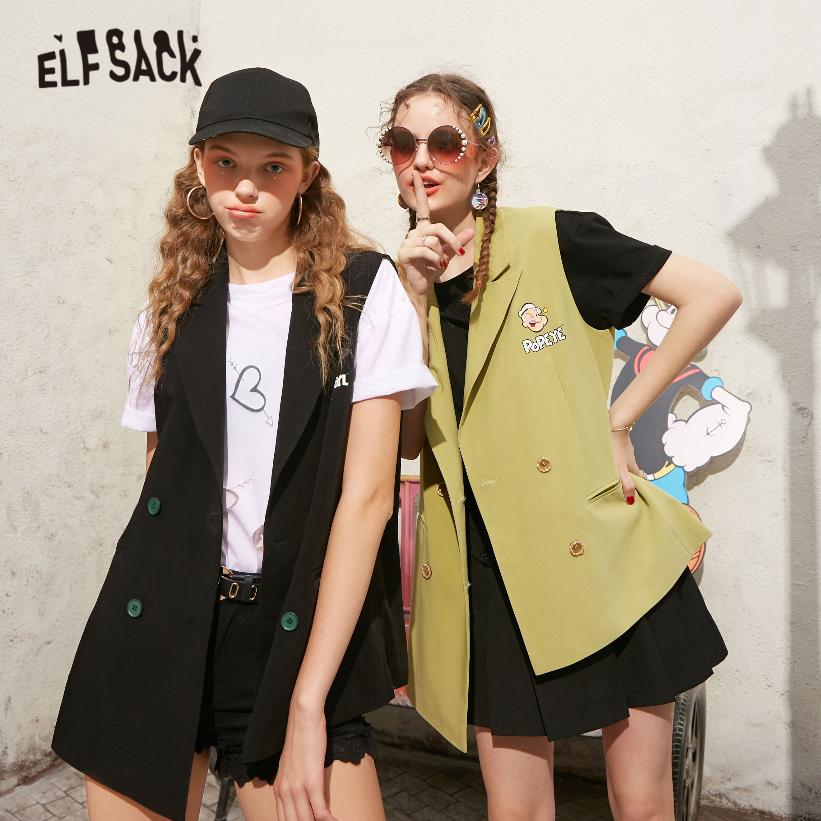 ELFSACK Green Solid Cartoon Print Casual Women Jackets 2020 Summer ELF Black Sleeveless Korean Office Ladies Daily WaistCoat