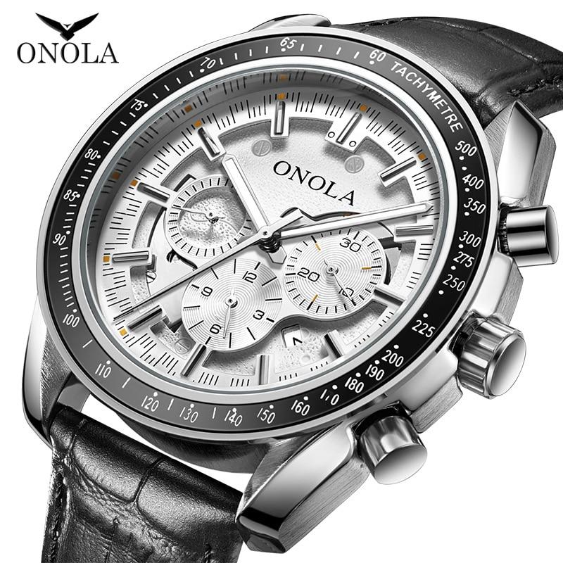 ONOLA Business Casual Automatic Watch For Man Luxury Barnd Fashion Luminous Waterproof Leather Mechanical Wrist Watch Male 2019
