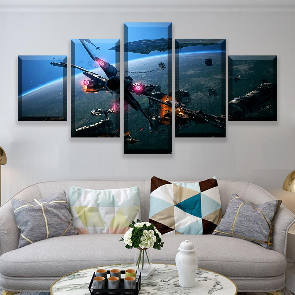 HD Prints Pictures Wall Art Canvas Posters Home Decor 5 Pieces Star Wars Movie Paintings For Living Room Framework (4)