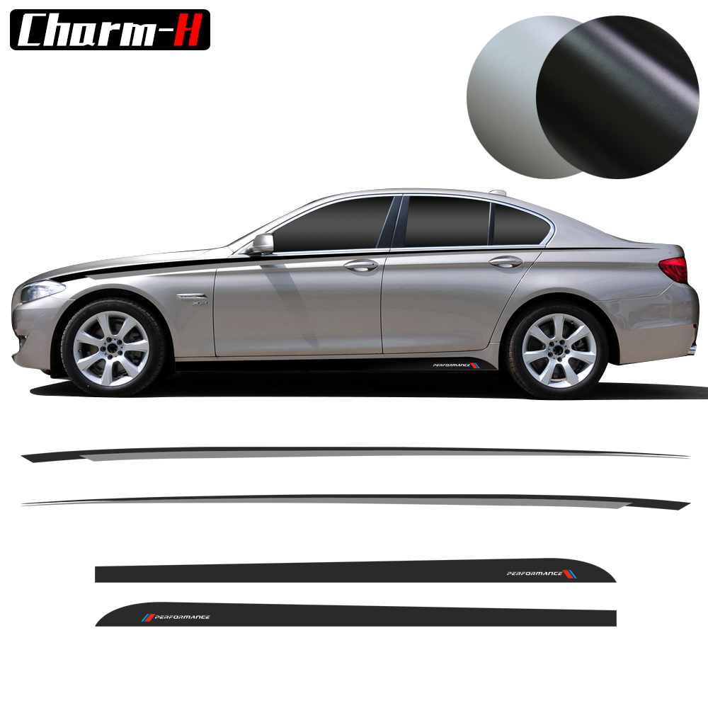 Car Styling M Performance Racing Side Skirt Stripes Black Silver Kit for BMW <font><b>F10</b></font> F11 5 Series Vinyl Decals <font><b>Stickers</b></font> Accessories image