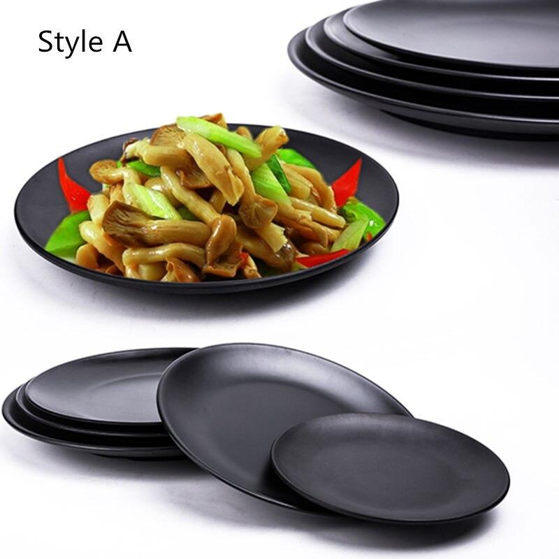 Gran oferta plato de melamina negro redondo Sushi Spaghetti Steak envase para ensalada tienda de ollas calientes cocina japonesa barbacoa cocina 1 pieza