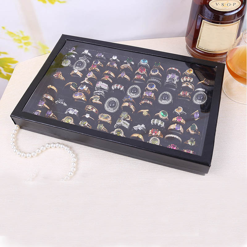 Jewelry Rings Display Tray Velvet 100 Ring Storage Ear Display Box Jewelry Organizer Holder Transparent Window Show Case