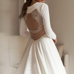 Beading with reinstone beatiful back satin wedding derss bridal gown with real photo
