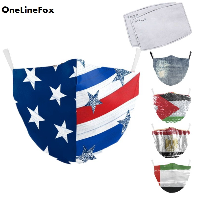 OneLineFox Adult Face Mask Flag Print Mask Protective PM2.5 Reusable Anti-dust Proof Bacteria Washable Fabric Mouth Masks