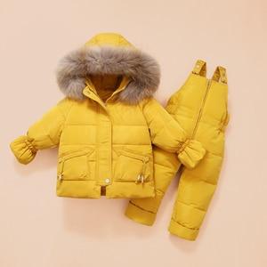 Image 3 - 冬の子供服セット雪のスーツジャケット + ジャンプスーツ2本セットベビー少年少女アヒルダウンコート幼児ガール冬服