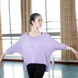 Image 3 - Camiseta de Ballet para adultos, blusa de manga larga con cuello redondo de murciélago, Tops de baile de gimnasia holgados de 4 colores, ropa moderna para mujer