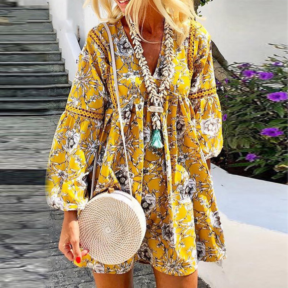 2020 Women Retro Floral Print Beach Autumn Mini Dress Hollow Out V-neck Apring Dress Sexy Lace Patchwork Mini Party Dress