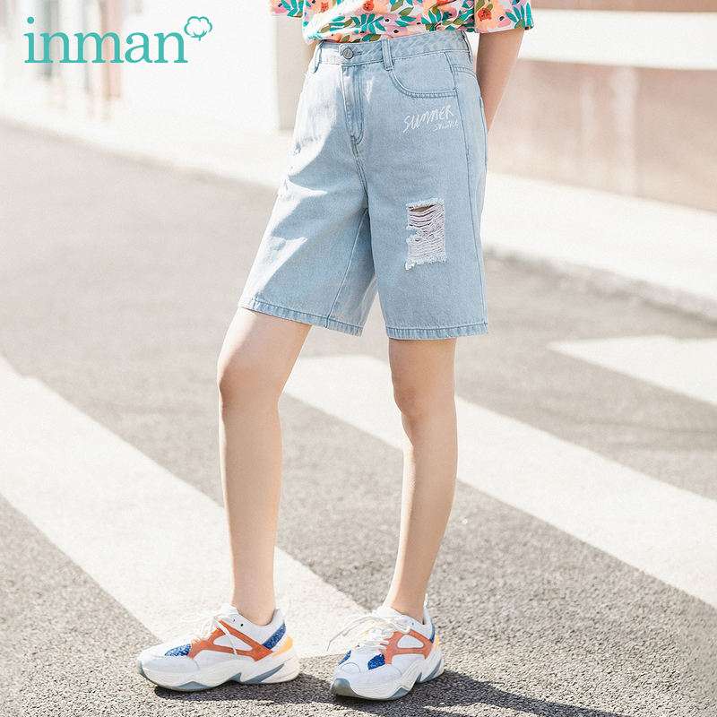 INMAN 2020 Summer New Arriavl Pure Cotton Literary Embroidered Fashion Hole Neutral Style High Waist Short Pant