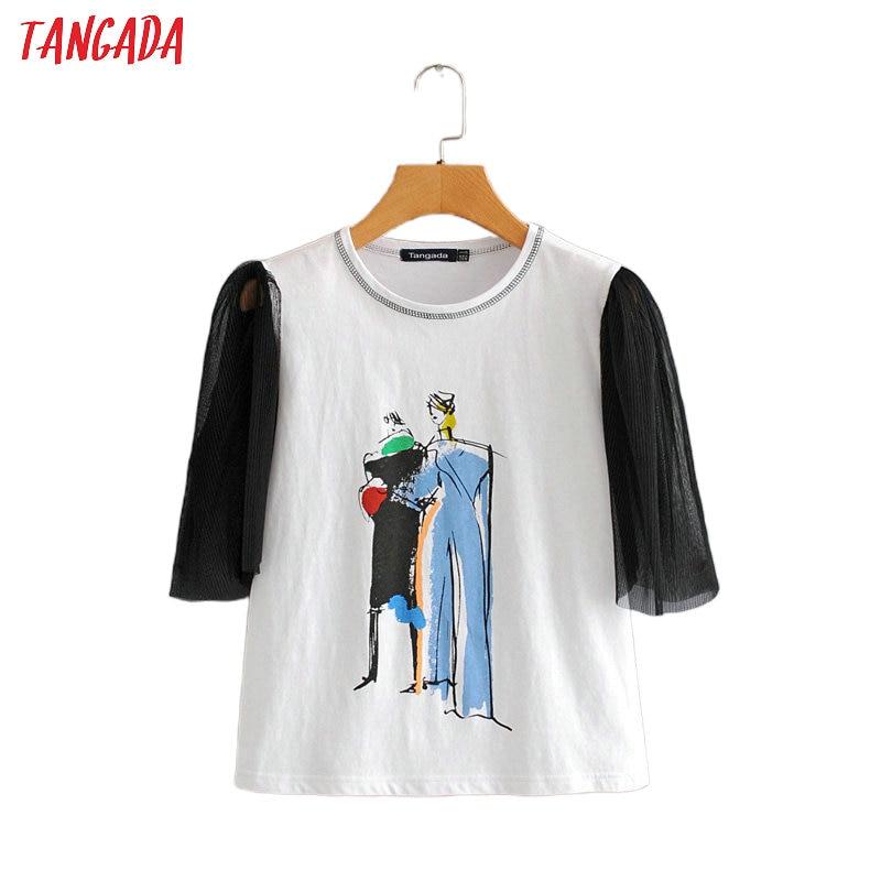 Tangada Women Vintage Print T Shirt Mesh Short Sleeve O Neck Tees Female Casual Tee Shirt  Top 2L10