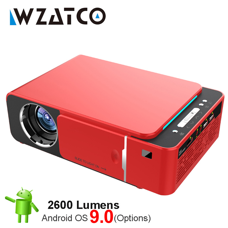 WZATCO T6 Android 9.0 WIFI en option 2600lumen 720p HD projecteur à LED portable prise en charge HDMI 4K 1080p Home cinéma projecteur